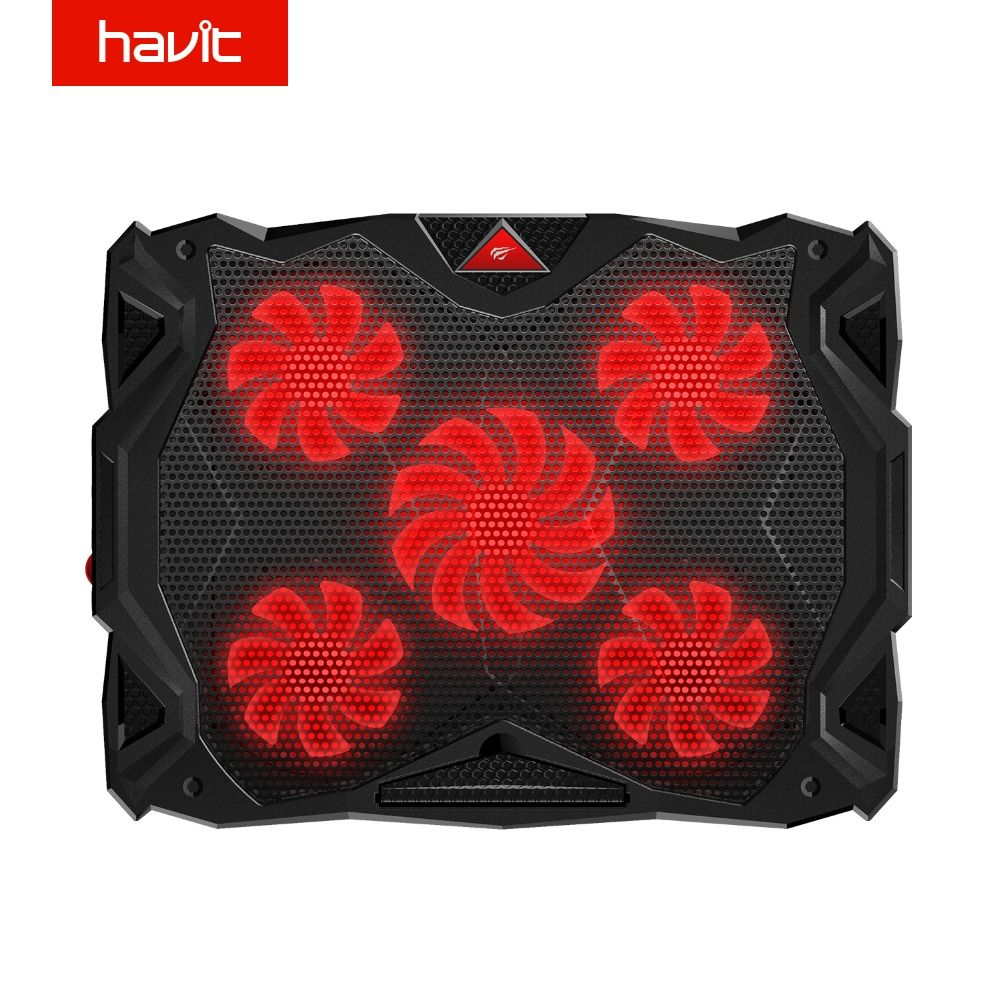 HAVIT Fan Cooling Quiet Laptop Cooling Pad LED USB Cooler Notebook with 5 Fans Noise-free Laptop Fan for Laptop 14