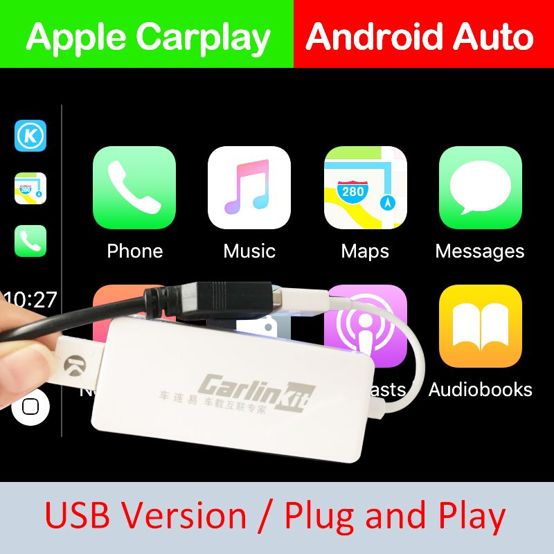 Carlinke USB Smart Link Apple CarPlay Dongle for Android Navigation Player Mini USB Carplay Stick with Android Auto