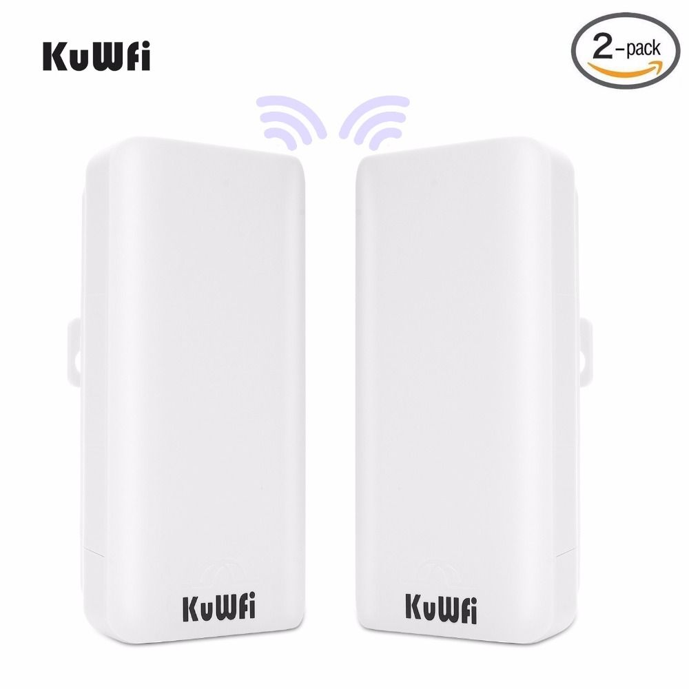 KuWFi 2PCS 300Mbps Wireless Bridge CPE Router High Power 2.4Ghz Wireless Outdoor Point-to-Point Bridge/CPE Pre-program WDS mode