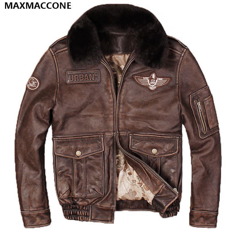 2018 Для мужчин Винтаж коричневый Пояса из натуральной кожи куртка пилота шерстяной воротник реального толстые теплые зимние полета кожаные ...