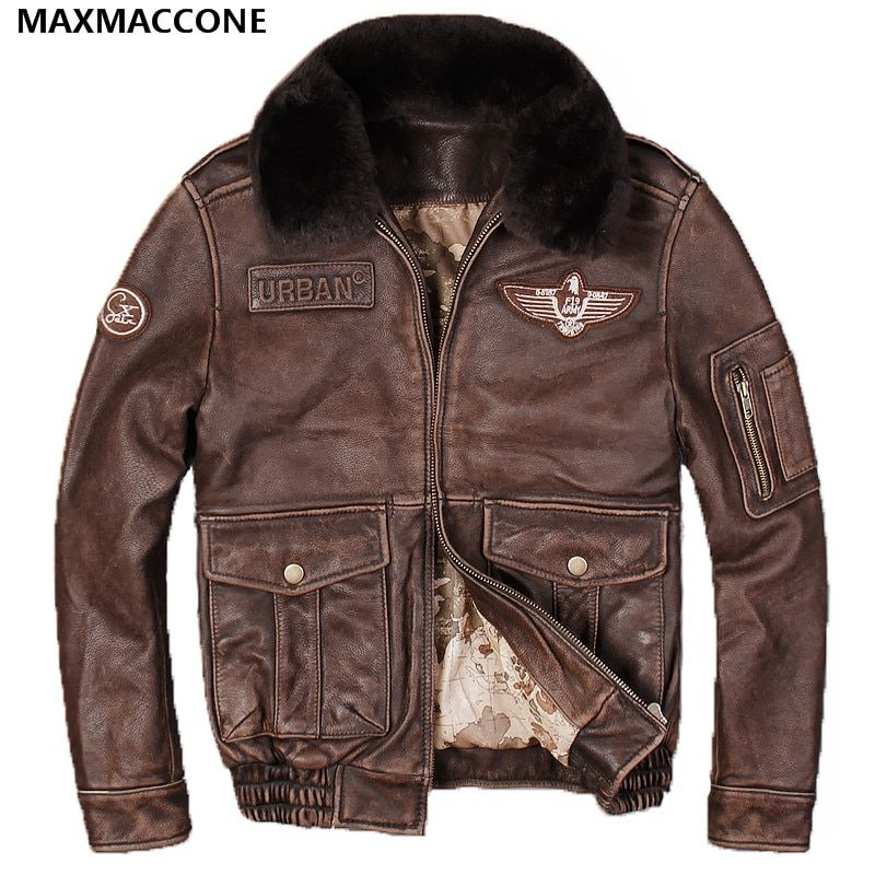 2018 Men Vintage Brown Genuine Leather Pilot Jacket Wool Collar Real Thick Cowhide Winter Flight Leather Coat XXXL FREE SHIPPING