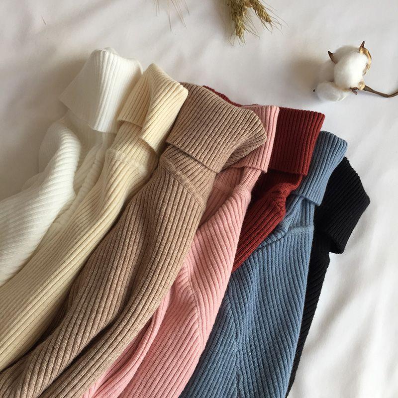 2019 automne hiver épais Pull femmes tricoté côtelé Pull Pull à manches longues col roulé Slim Pull doux chaud Pull Femme