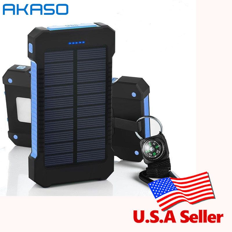 100% Original Waterproof Solar 10000mah Dual USB Mobile Solar Charger Waterproof for All Phone With a <font><b>compass</b></font> retail package