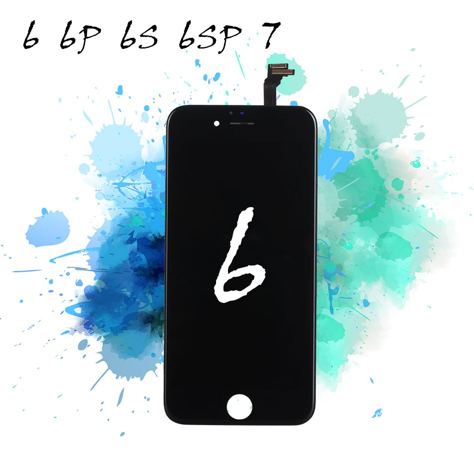 LCD Screen Digitizer for iPhone 6s 6 Display Touch Replacement Assembly 6P 6sP 7 Mobile Phone Black White Tempered Glass Tools
