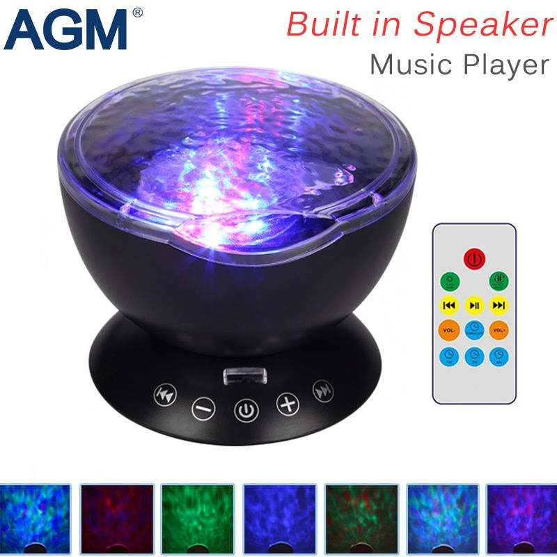 AGM LED Night Light Ocean Wave Projector Starry Sky Cosmos Star Lamp Luminaria Aurora Novelty Baby Nightlight Valentines Gift