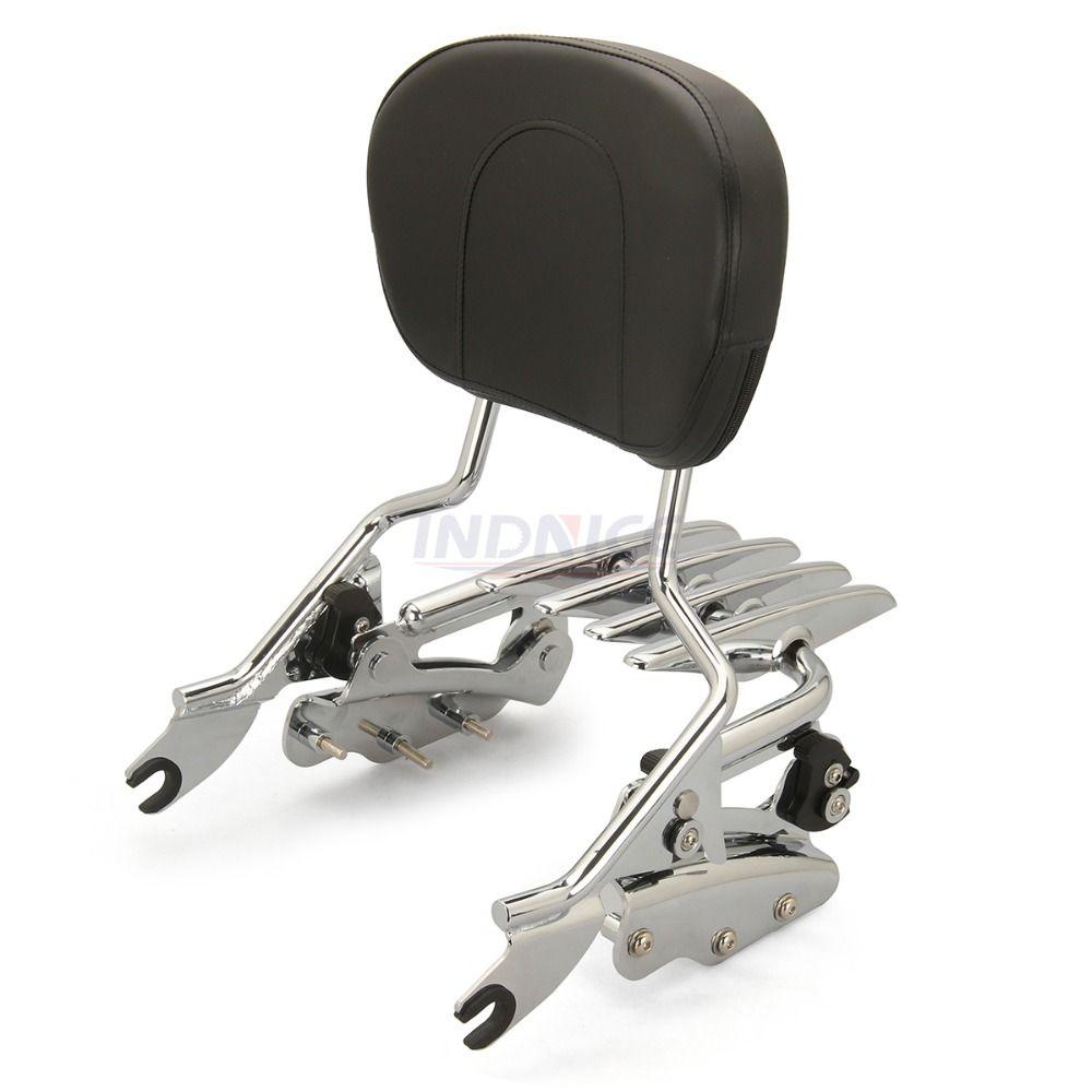 chromed Sissybar Backrest + Docking hardware kit +Luggage rack For Harley Touring Street Glide flhx roadking ultra CVO 2009-2013