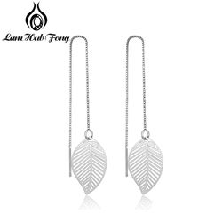 925 Sterling Silver Leaf Earrings for Women Girls Long Chain Tassel Drop Earrings Brand Wedding Party Jewelry Gift(Lam Hub Fong)