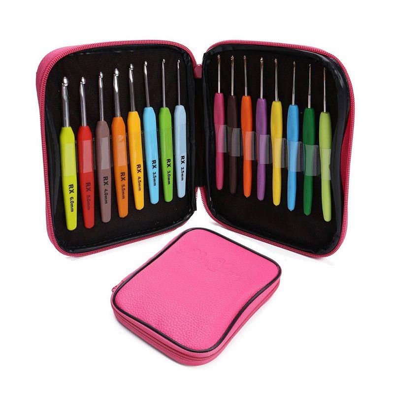 16 pièces Multicolore Crochet Fil Alu Aiguilles À Tricoter Kit avec Boîte À Outils De Couture