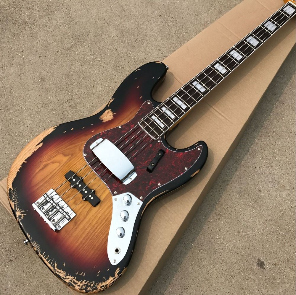 Hot sell 1959 relic Jazz bass basswood body with 4 strings electric bass in sunburst color , hight quality