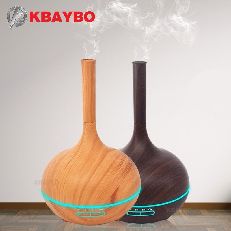 400ml Aroma Essential Oil Diffuser Wood Grain Ultrasonic Cool Mist Humidifier for Office Home Bedroom Living Room Study Yoga Spa