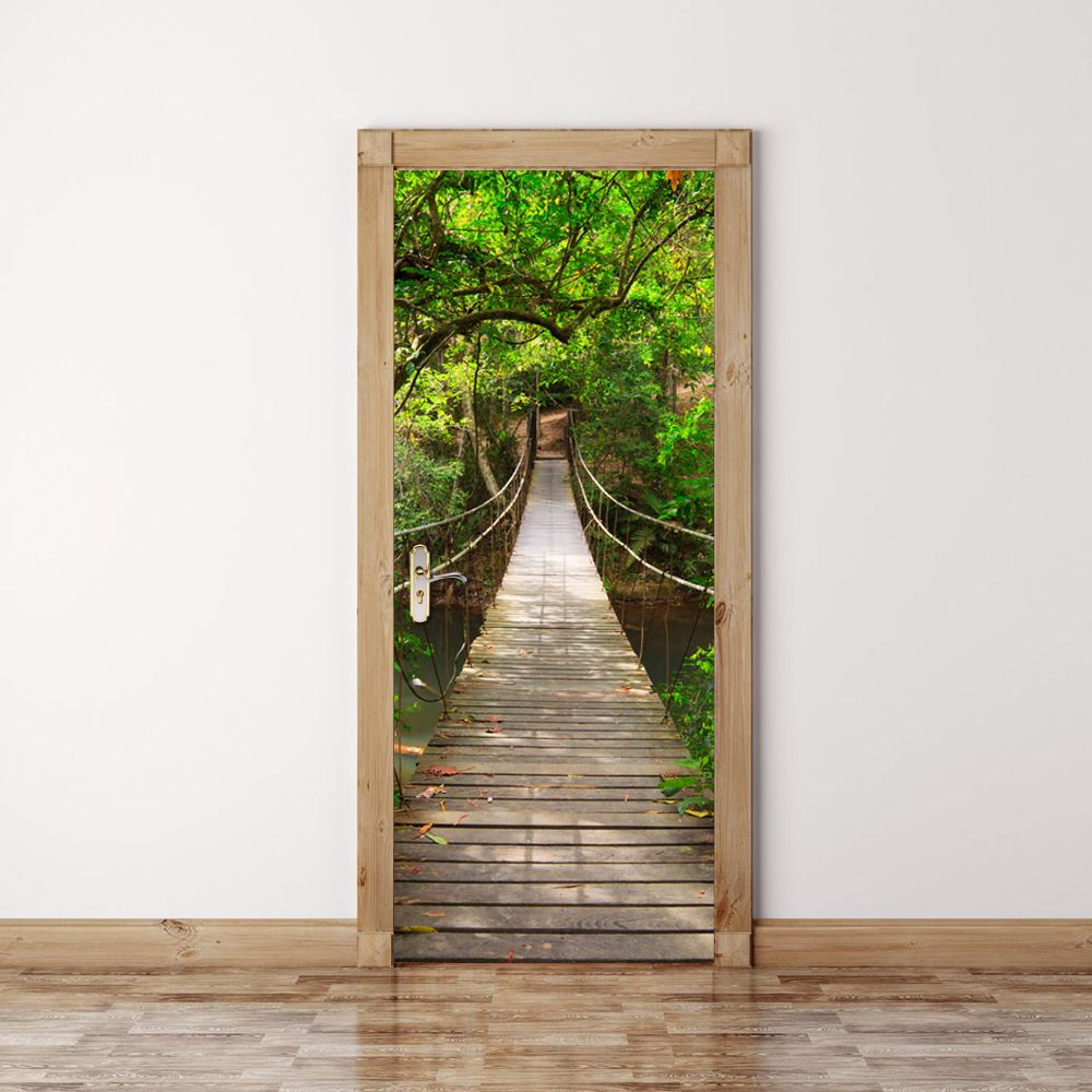 3D autocollant de porte forêt murale Art vert arbre pont-levis papier peint affiche autocollants auto-adhésif amovible maison porte décalcomanies