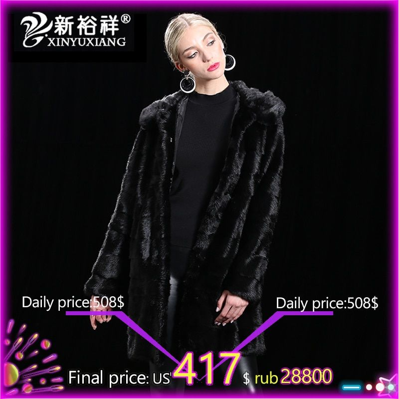 Winter Women`s Long Real Mink Jacket Genuine fur Coats Hood Customizable Female Autumn Outwear Thick Warm Natural Fur Clothes