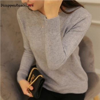 DisappeaRanceLove Brand 2018  Autumn women top short design pullover o-neck sweater female long-sleeve  slim thickening sweater