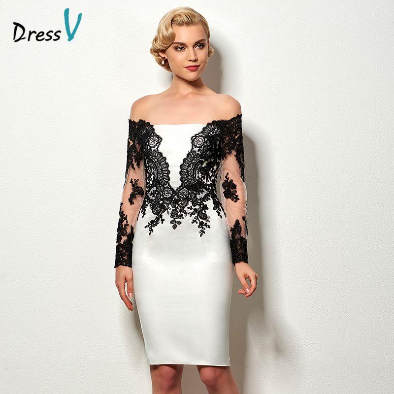Dressv negro y blanco vestido de coctel de la envoltura corta de manga larga appliques longitud de la rodilla vestido de cóctel barato vestido de fiesta del banquete de boda