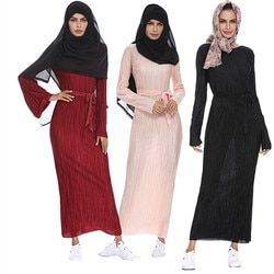 Musulman Manches Longues Maxi Abaya Robe Solide Couleur Islamique Vêtements Élégant Marocain Caftan Robe Turc Sexy Conception de Robe de Soirée