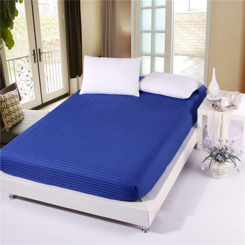 1 pièces 100% coton couleur unie drap housse rayure matelas couverture quatre coins avec bande élastique drap de lit
