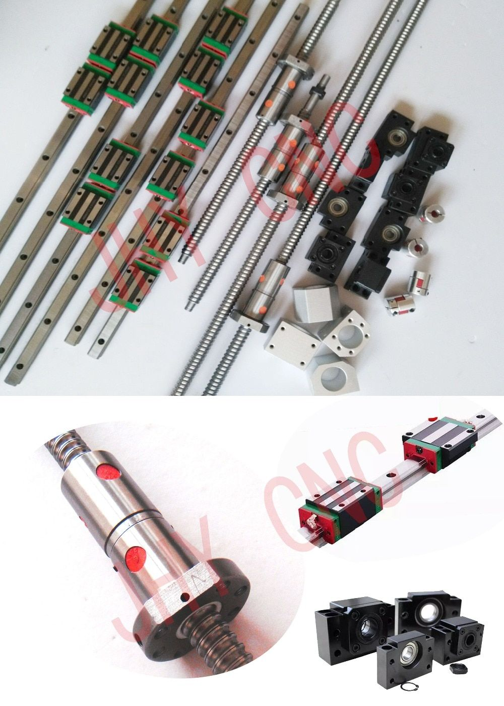 20mm JHY Linear guide rail carriages , DFU2005 Ball screws with DOUBLE BALLNUT and 3kw spindle motor set (refer to discription)