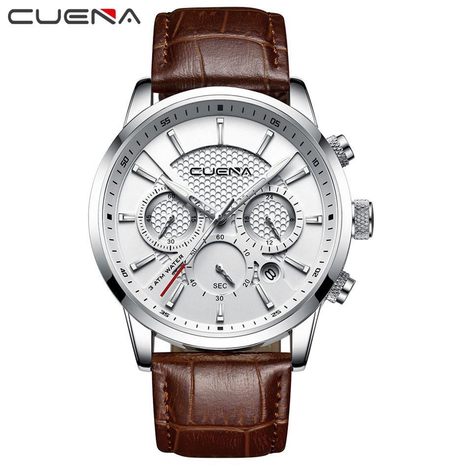 2019 CUENA Fashion Men Watch Quartz Chronograph Clock 3 Sub-dials 6 Hands Multifunction Waterproof Casual Sports Wristwatches