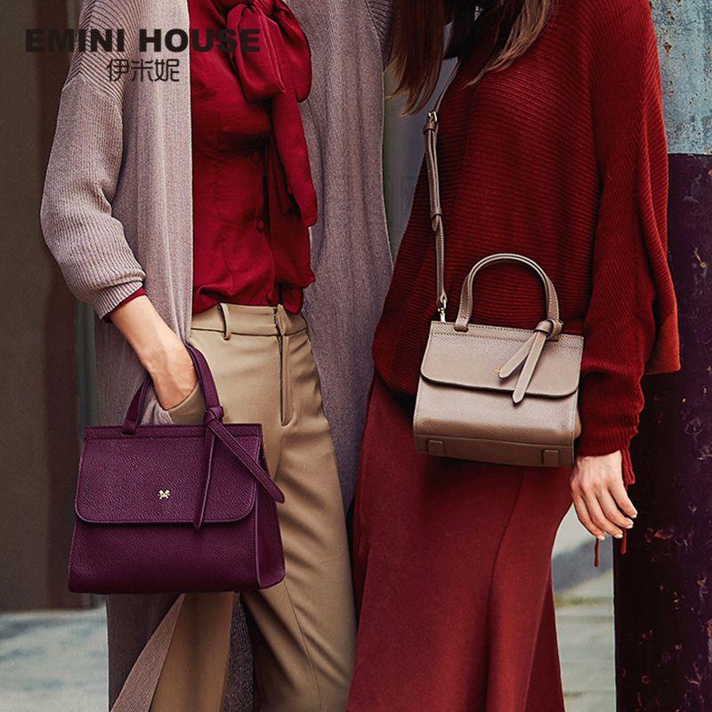 EMINI HOUSE Bow Tie Luxury Handbags Women Bags Designer Women's Genuine Leather Handbags Litchi Grain Shoulder Crossbody Bags