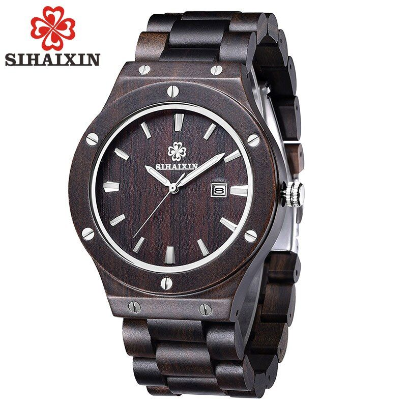 SIHAIXIN Luxury Vintage Natural Wooden Men Watches All Black Sandalwood Band Hot Sale Japan Quartz Clock Male With Gift Box 2018