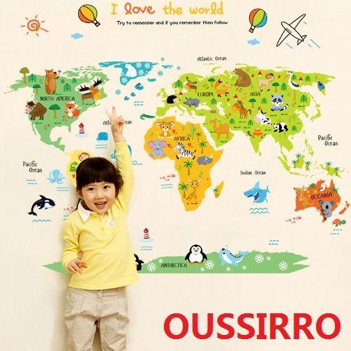 OUSSIRRO Sticker mural mon mignon la petite carte du monde enfants chambre fond vert amovible stickers muraux papier peint enfants poni