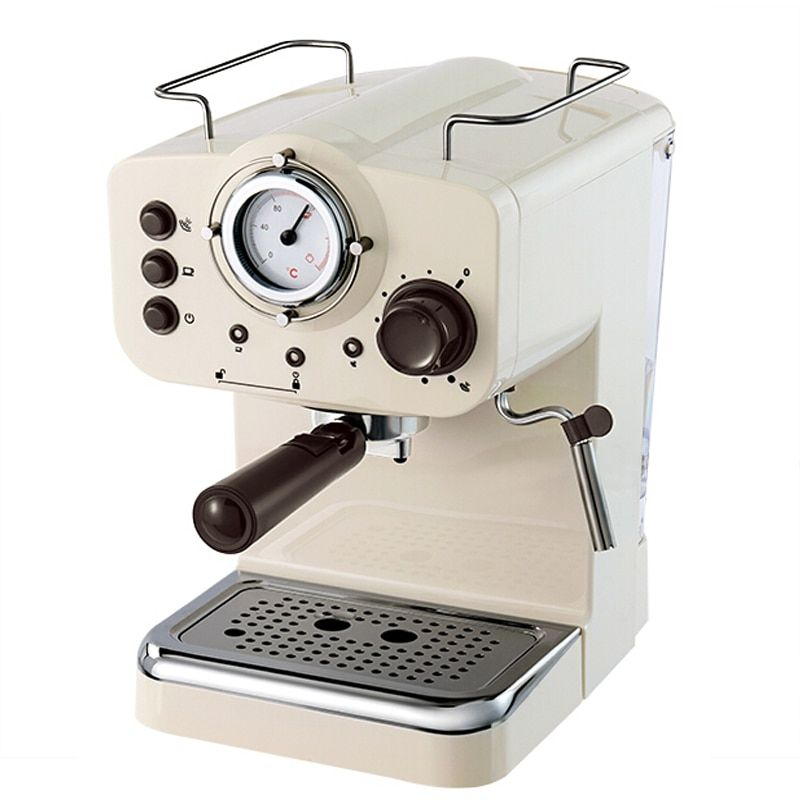Espresso Coffee Maker 15Bar Pump Pressure Coffee Machine Retro Italian Coffee Maker White Semi-automatic Commercial Milk Frother