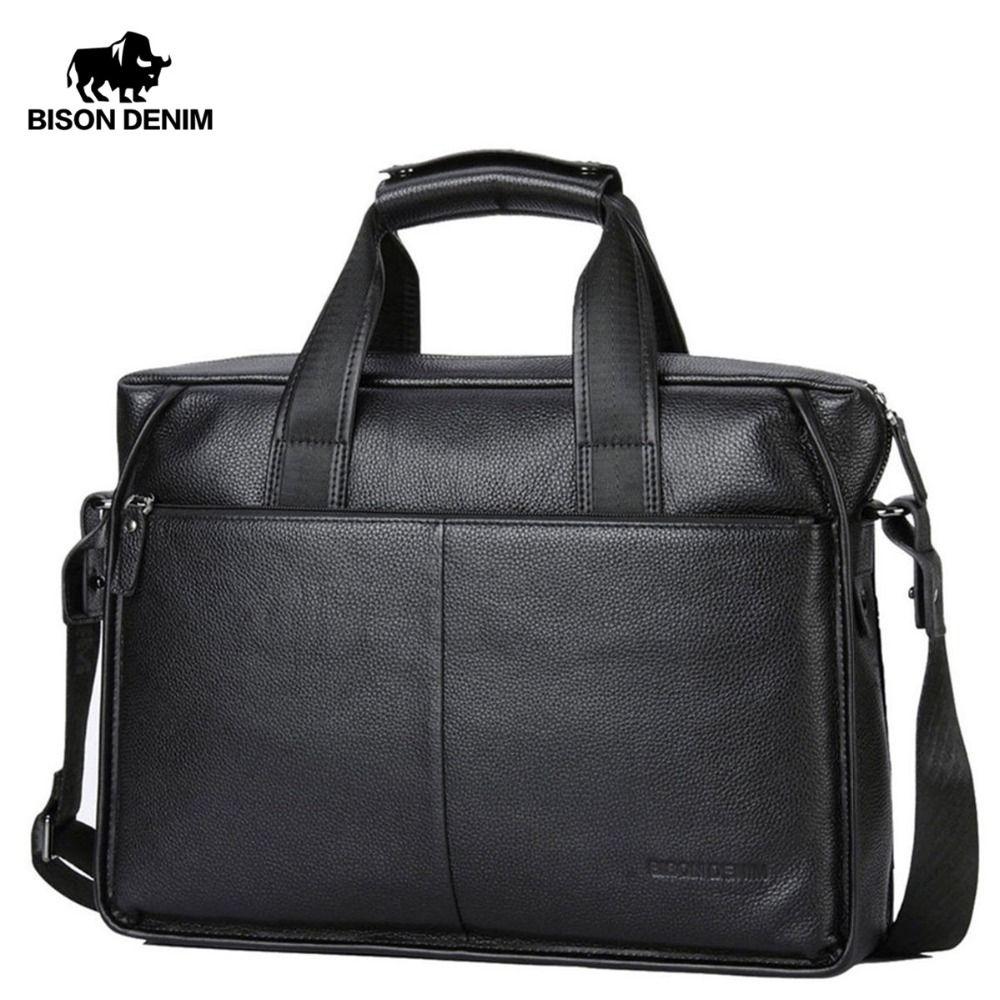BISON DENIM Genuine Leather Guarantee Briefcase Men Bag 14 inch Laptop Soft Cowhide Messenger Bag Handbag Bag Business N2237-3
