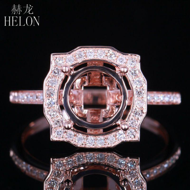 HÉLON Nouveaux Bijoux De Mode Anneau 8.5mm Ronde Unique Halo 0.3CT diamants Semi Mont Bague de Réglage Solide 14 K Or Rose femmes anneau