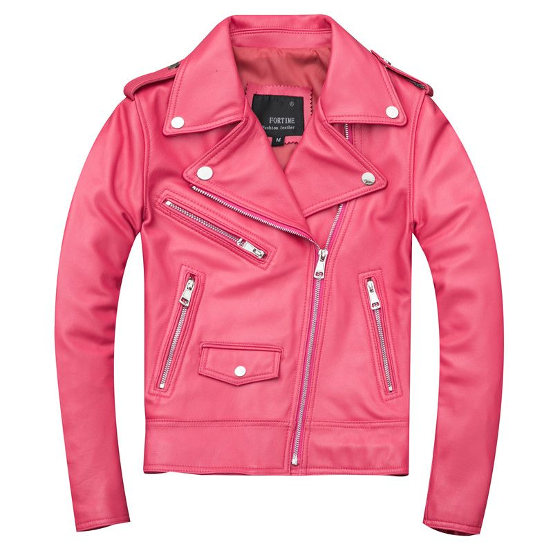 2019 rosa Frauen Slim Fit Biker der Leder Jacke Plus Größe XXXL Echtem Schaffell Frühling Mädchen Kurze Motorrad Leder Mantel