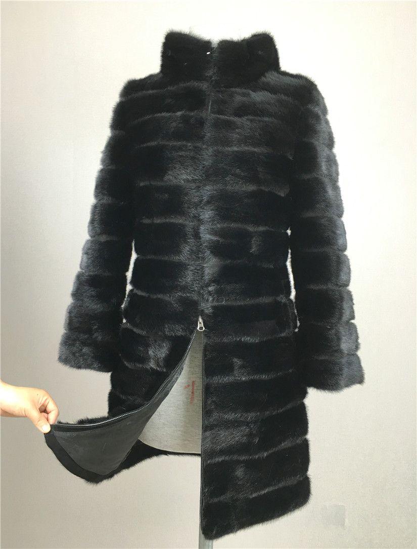 LIYAFUR 2017 Real Nerz Mantel für Frauen Natürliche Echte Russische Pelzmäntel Luxus Schwarz Farbe Kundengebundene Größe