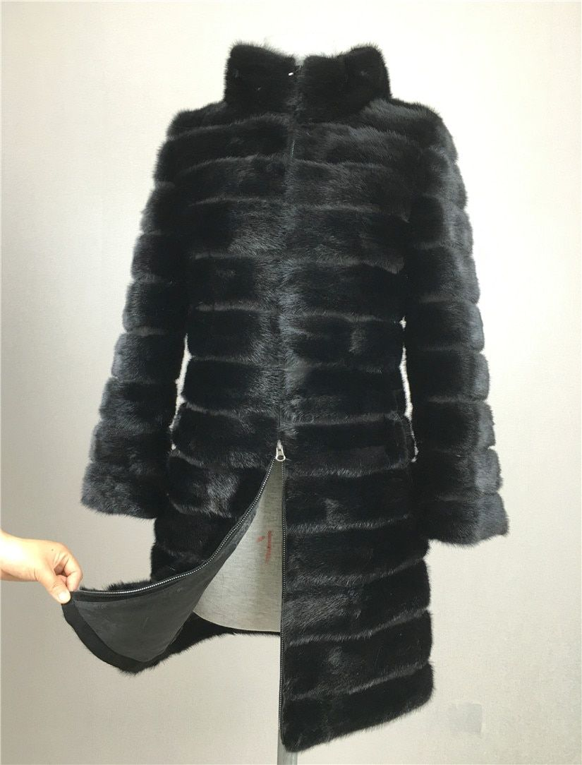 LIYAFUR Real Mink Fur Coat for Women Natural Genuine Russian Fur Coats Luxury Black Color Customized Size