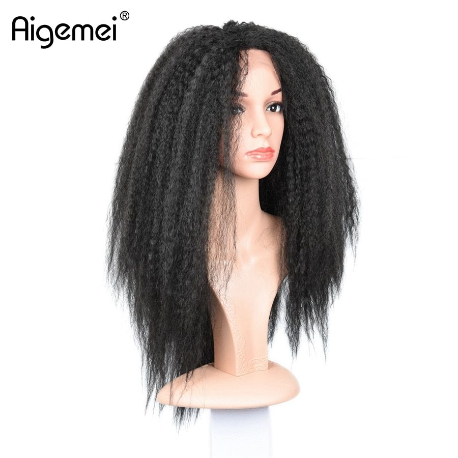 Aigemei Heat Resistant Lace Fron Wig Top Quality Yaki Kinky Straight Synthetic Lace Frontal Wig