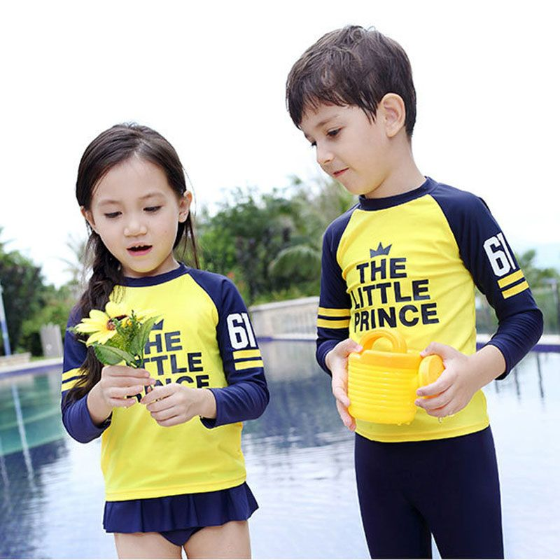 2Pieces Beach Wear Ups Baby Swimsuit Kids Children's Swimwear for Girl Boy Yellow Swimming Suit Baby Bathing Suit 16A02