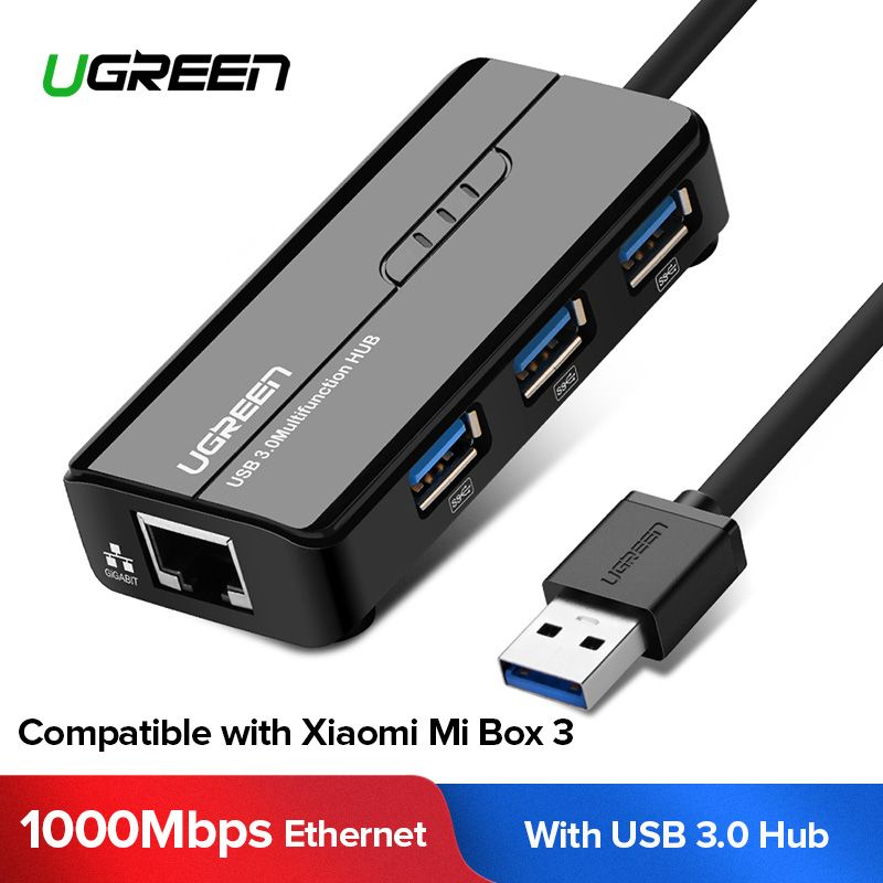 Ugreen USB Ethernet USB 3.0 2.0 à RJ45 HUB pour Xiao mi mi Boîte 3/S Android TV Ensemble -top Box carte ethernet carte réseau USB Lan