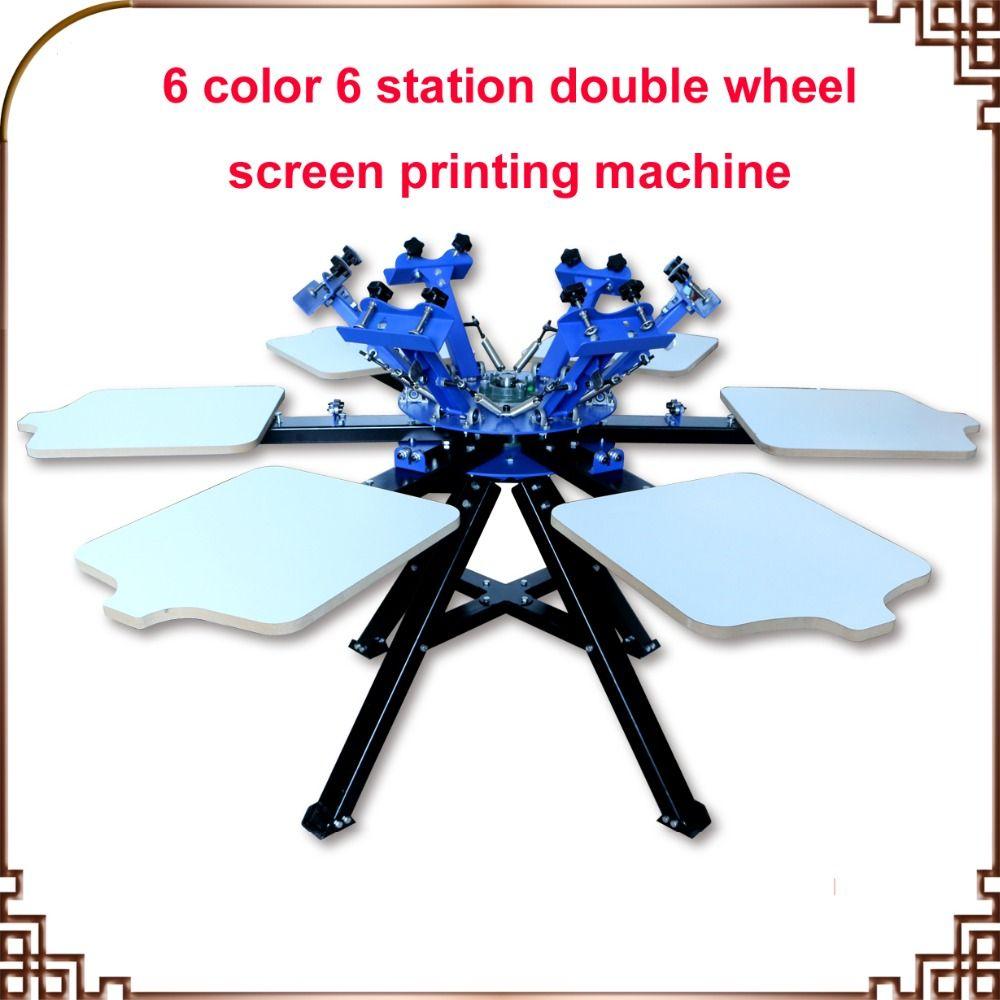SCHNELLES und FREIES verschiffen! 6 Farbe 6 station Siebdruckmaschine Presse t-shirt drucker ausrüstung karussell