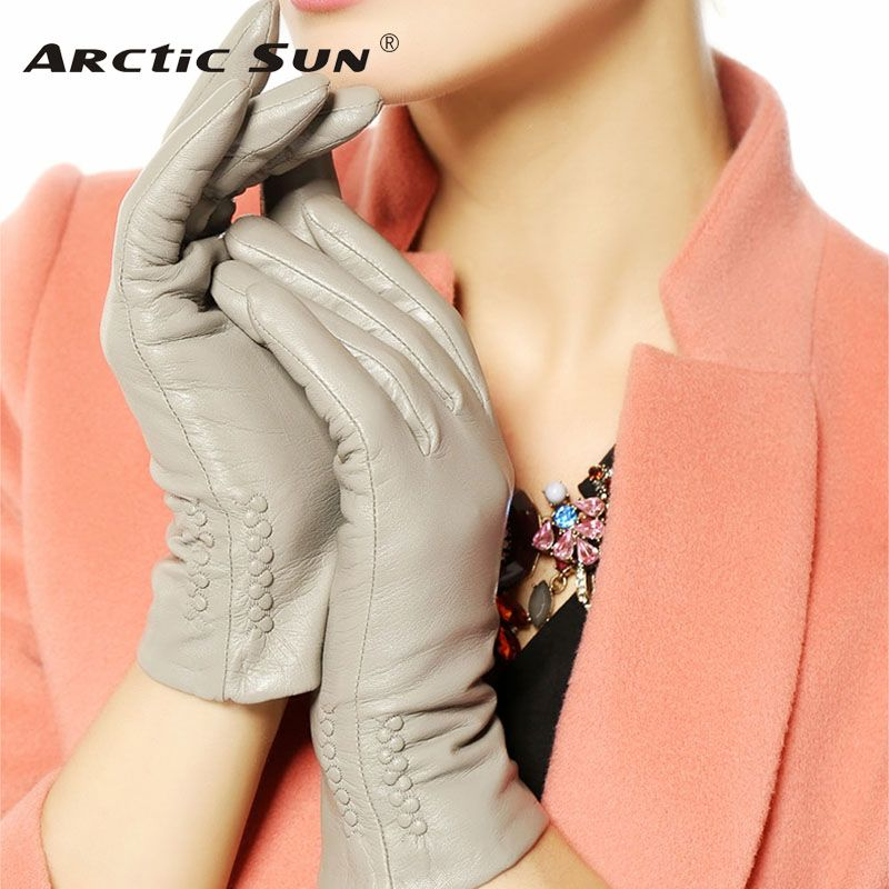Women Gloves 2018 Thermal Soft Lined Winter Genuine Leather Glove Wrist Solid Fashion Dressing Lambskin Free Shipping L013NC