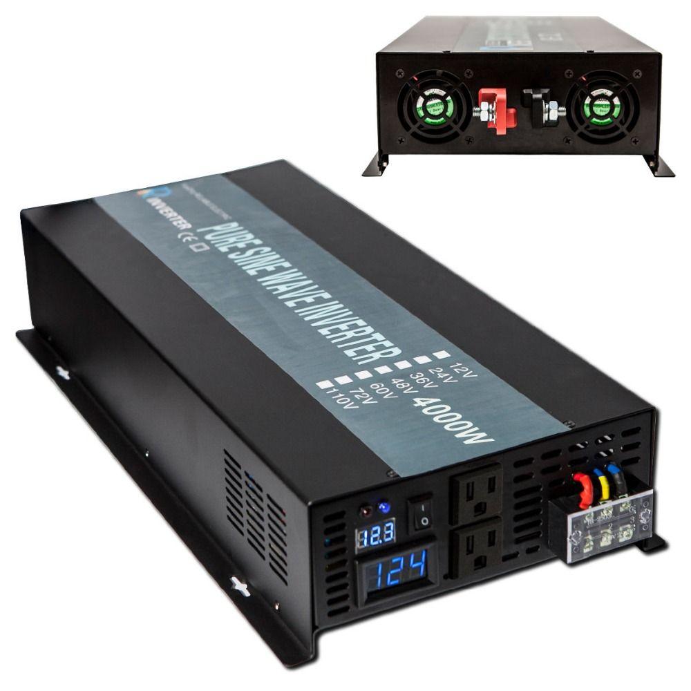 4000W Pure Sine Wave Solar Inverter 24V to 220V Car Power Inverter Converter 12V/48V DC to 120V/230V/240V AC Pump Refrigerator
