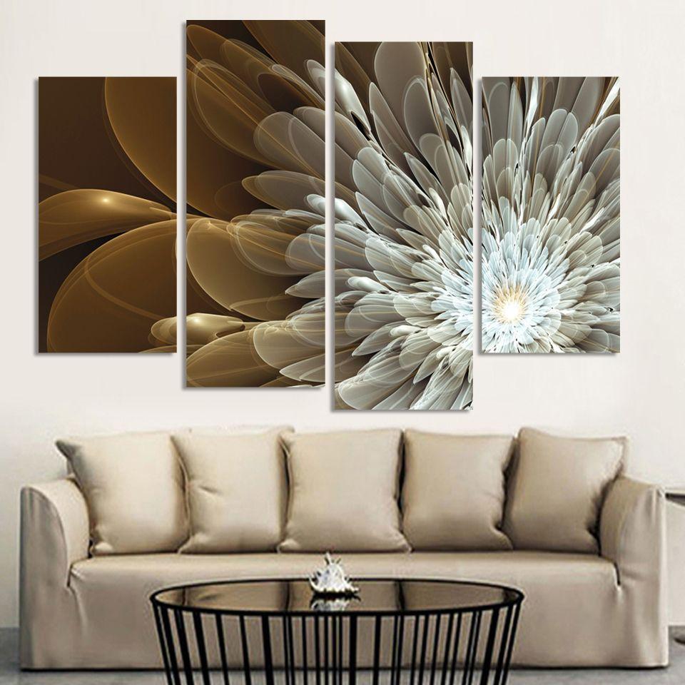 4 pcs la Richesse Et le Luxe Doré Fleurs Peinture Impression sur toile décoration de mariage Modulaire murale Sans Cadre