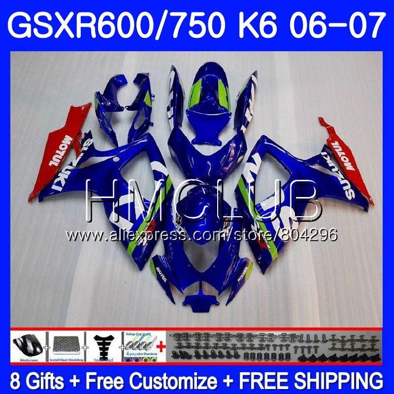 Körper Für SUZUKI GSXR 600 750 GSX R750 GSX-R600 06 07 5HM. 0 GSXR600 06 07 GSXR-750 K6 GSXR750 2006 2007 Verkleidung kit Fabrik blau