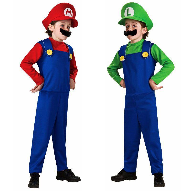 Костюмы на Хэллоуин забавные Супер Марио и Луиджи брат костюм для детей Для мальчиков Обувь для девочек Fantasia Infantil Косплэй комбинезон