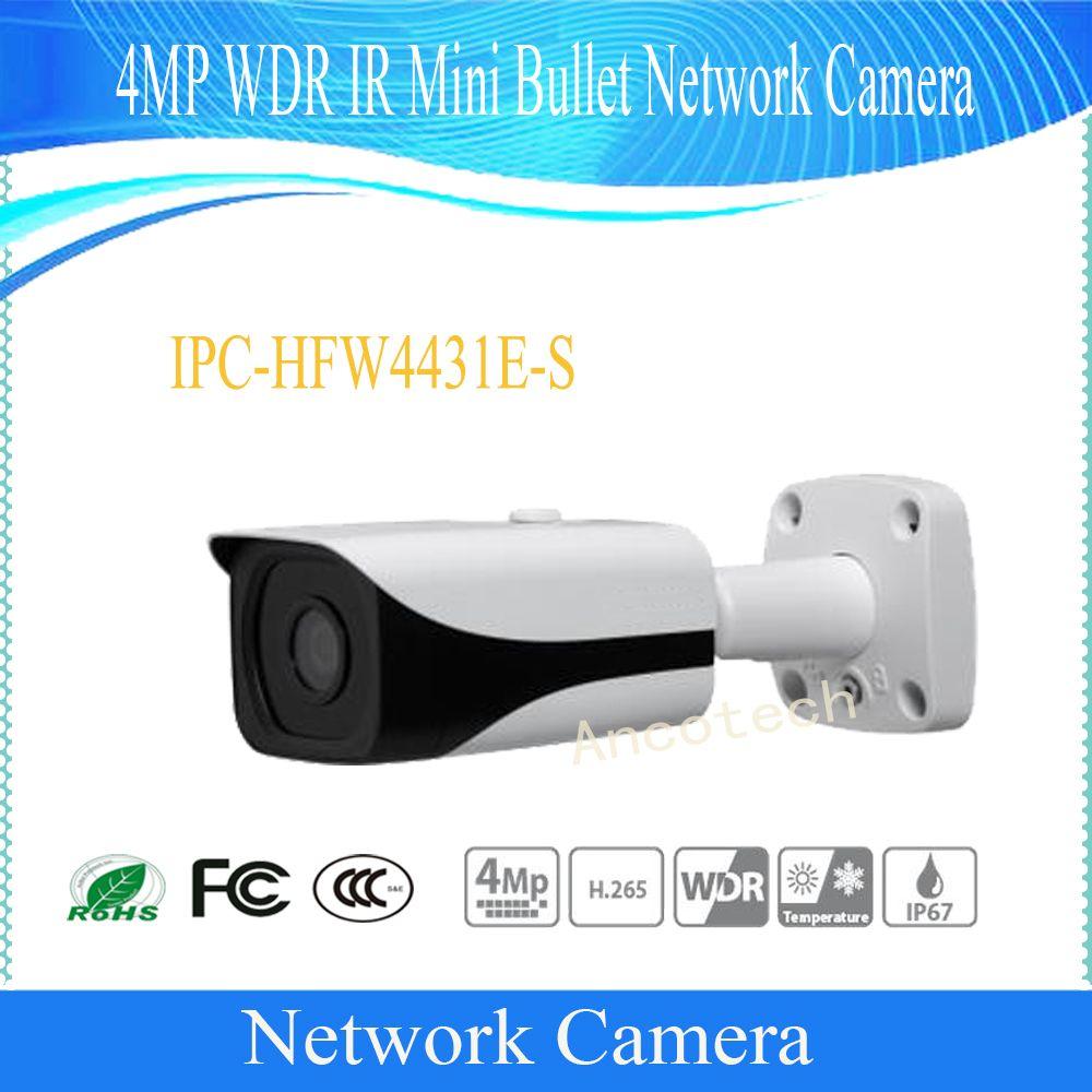 Free Shipping DAHUA Security IP Camera 4MP WDR IR Mini Bullet Network Camera IP67 PoE Without Logo IPC-HFW4431E-S