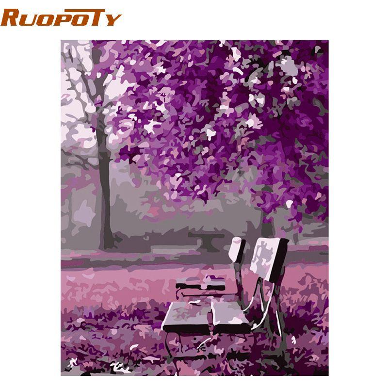RUOPOTY cadre violet paysage peinture à la main par numéros peint à la main maison mur Art décor Unique cadeau pour décoration de mariage 40x50