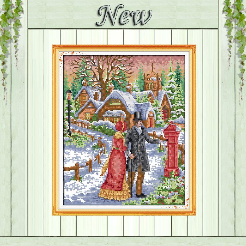Пара ходить на снегу, зимний пейзаж, Счетный напечатаны на холсте DMC 11ct 14ct Вышивка крестом наборы, рукоделие Наборы для ухода за кожей DIY Выши...
