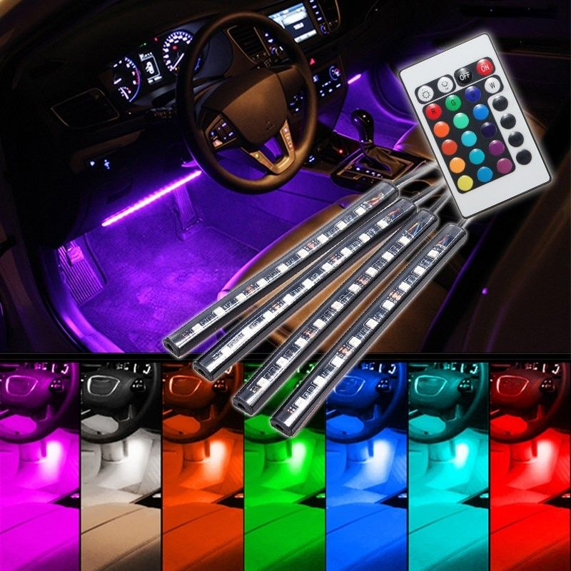 4pcs Remote Control 9 LED RGB Car Auto Interior Glow Neon Floor Decorative Atmosphere Light Strip Lamp Car Styling 12V