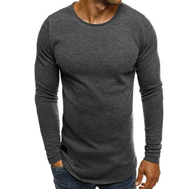 INCERUN <font><b>Men</b></font> Long Sleeved Knitted T-shirt Bodybuilding Gyms Fitness Tracksuit Tee Tops Round Neck Crossfit T Shirt 2018 Spring