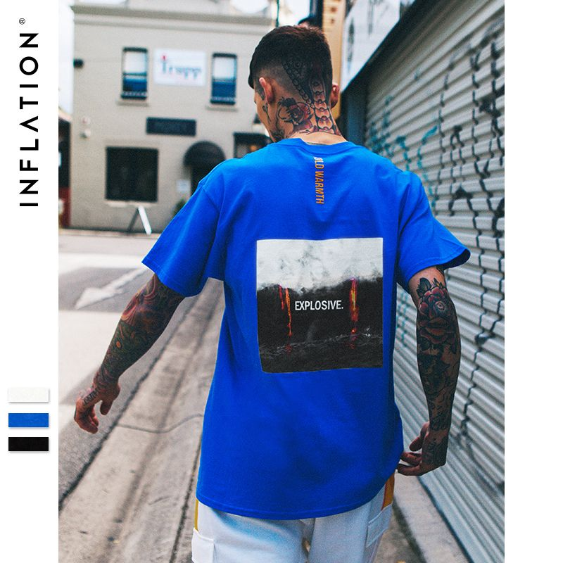 INFLATION 2018 Graphic Printed Cotton Short Sleeve Casual T-shirt O-neck Top Tees Menswear New Arrival 2018 Summer 8227S