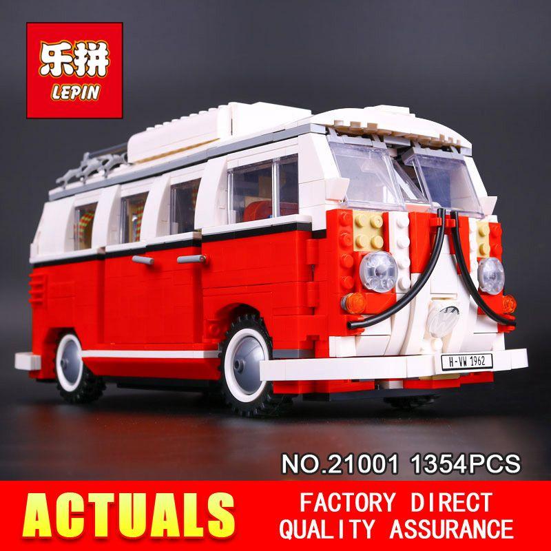2016 New LEPIN 21001 1354Pcs Creator Volkswagen T1 Camper Van Model Building Kits Bricks Toys Compatible 10220 Gifts