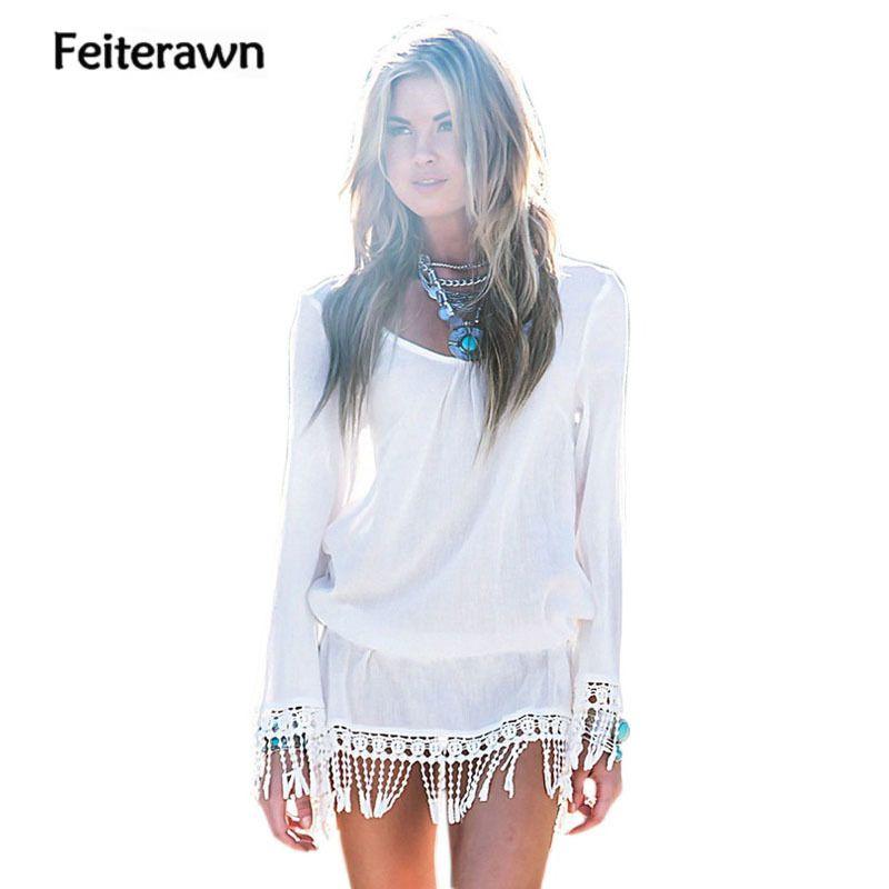 Feiterawn 2017 Neue Strand Vertuschen Weiß Quaste Saum Lange hülse Minikleid Saidas De Praia Copri Kostüm Stute Donna DL41501