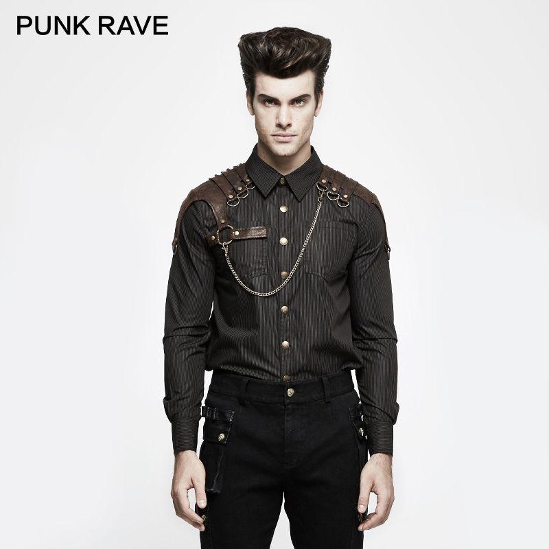 Панк Rave стимпанк нежный Для мужчин Кофе вертикальный Полосатые рубашки осень дворец Готический Винтаж одежда с длинным рукавом Повседневн...