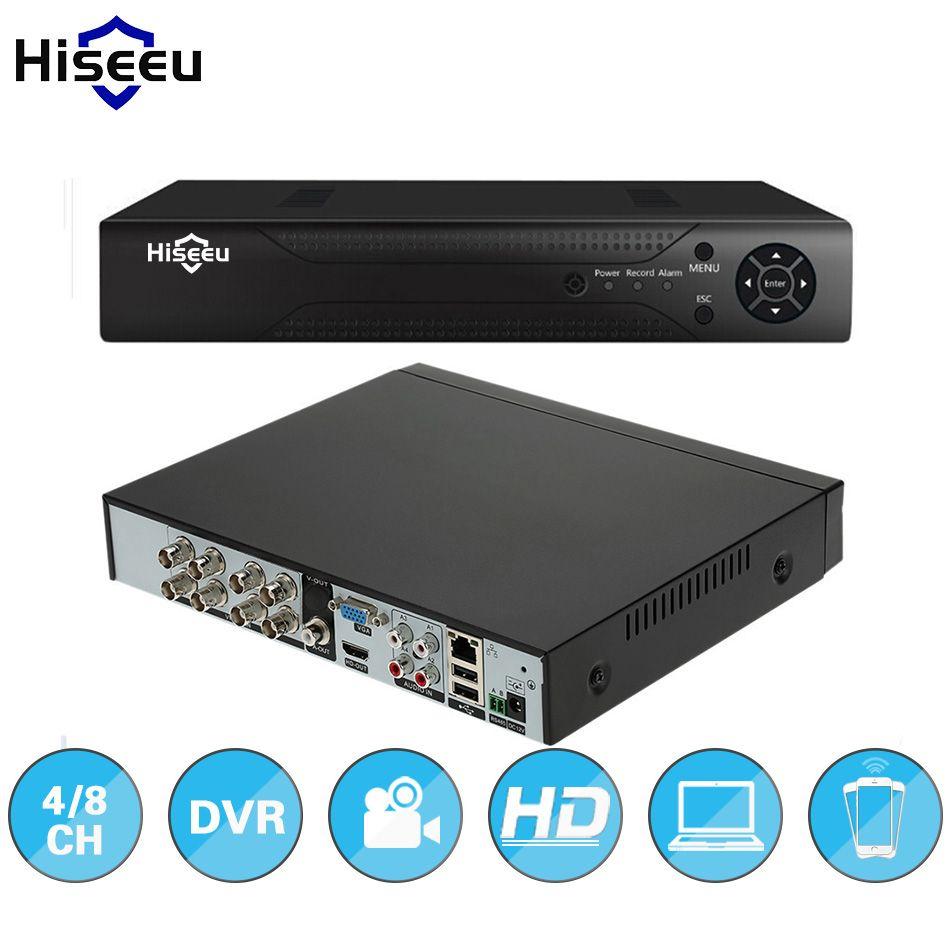 Hiseeu ONVIF 4/8CH DVR stand alone Full HD P2P Cloud H.264 VGA HDMI video recorder RS485 Audio CCTV camera system home security
